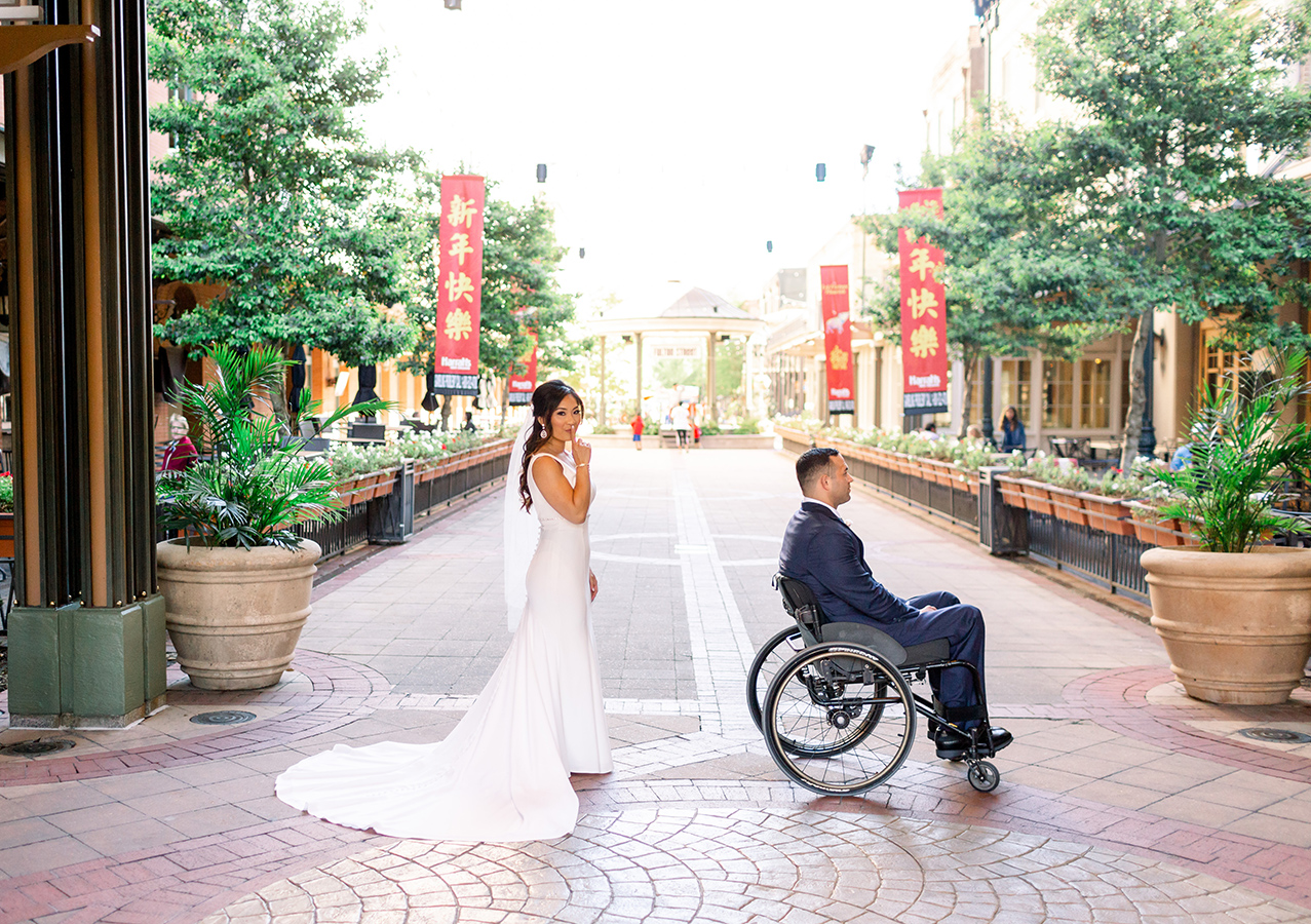 Gina and Kyle's first look took place on Fulton Street. After their private moment together, the couple posed for photos with their bridal party.