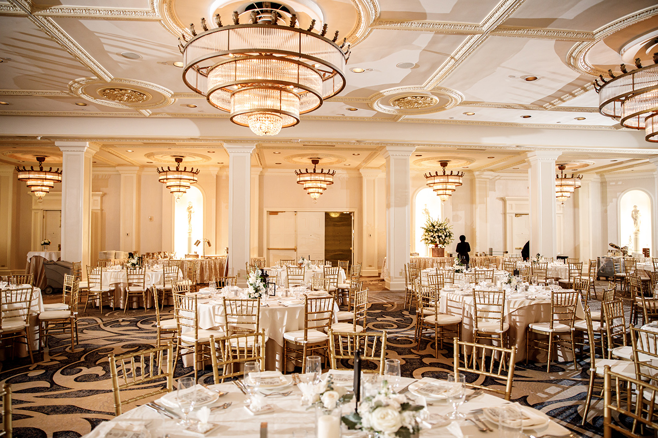The couple chose the Waldorf Astoria Ballroom at the Roosevelt Hotel for their wedding reception.
