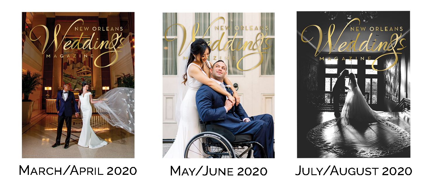 New Orleans Weddings Magazine's Spring+Summer 2020 Edition covers