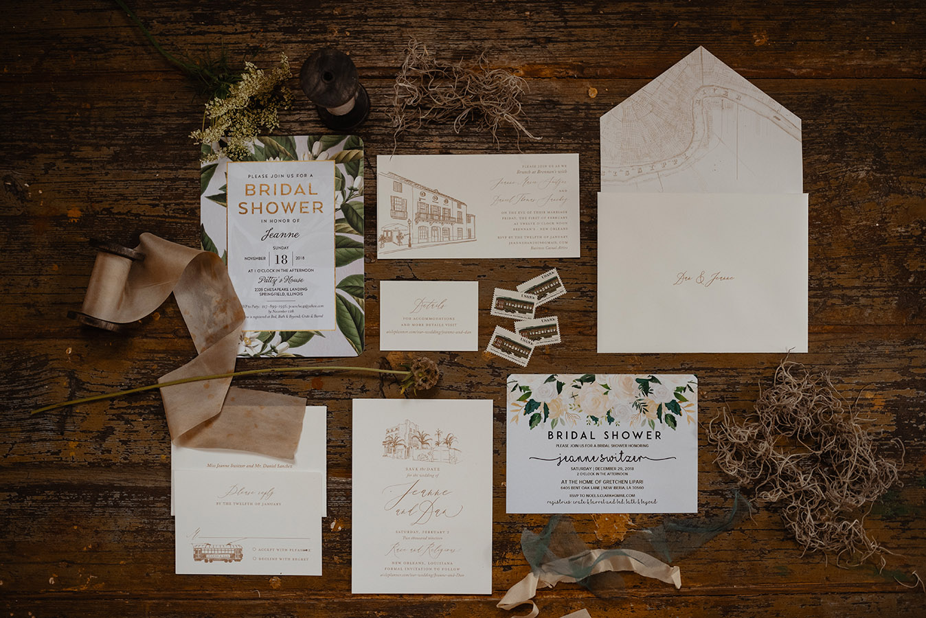 """Jeanne and Dan invited 120 of their family and friends to celebrate their wedding at Race and Religious in New Orleans. """"On their trips into town we also worked closely with Scriptura to use elements such as New Orleans architecture, icons and maps to create their invitation suite and other personalized items for their wedding,"""" shares Rena Sweeney of Alchemy Events."""