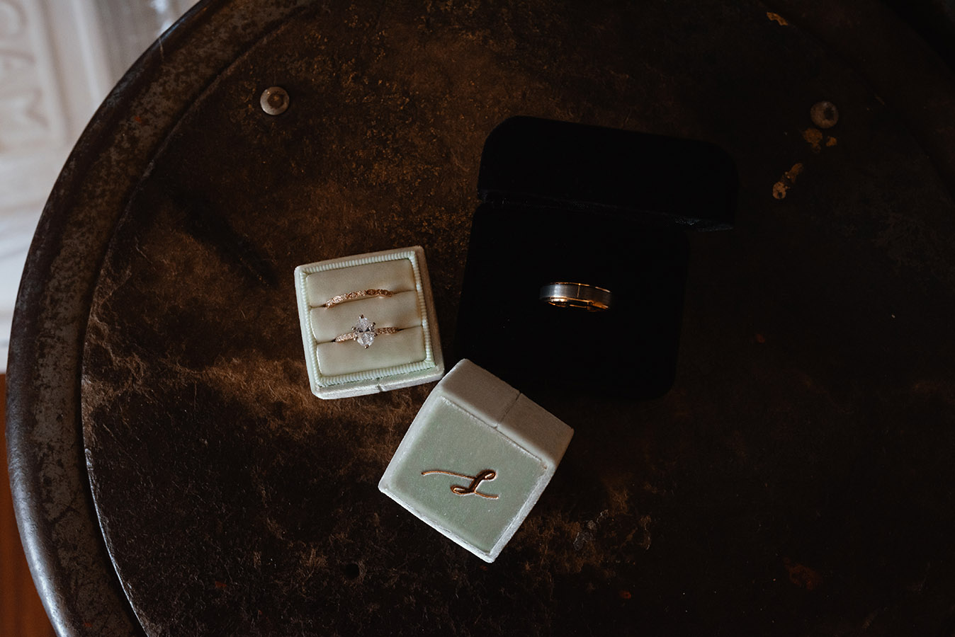 Jeanne and Dan's rings by Shane Co.