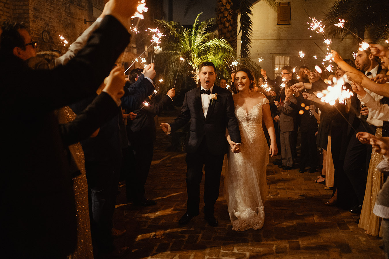 The evening ended with a sparkler send-off for the happy couple.