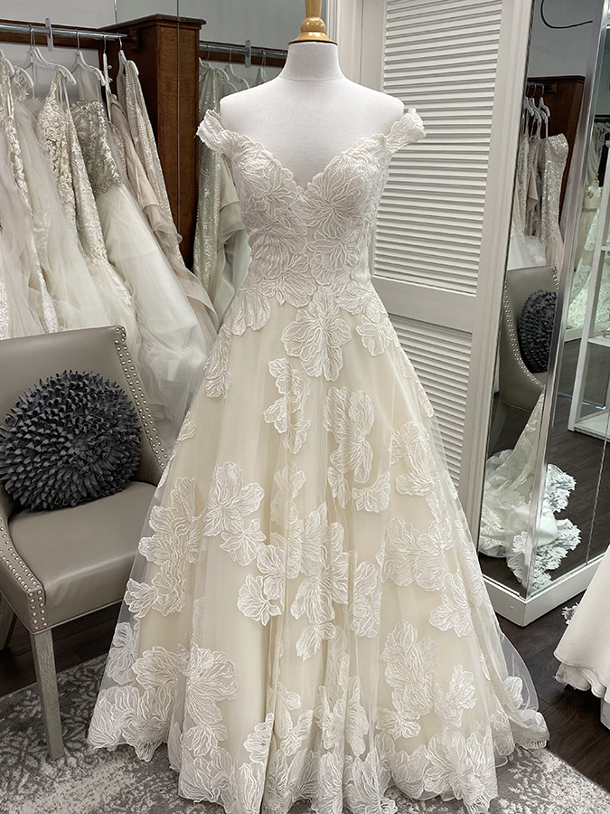 Bridal Gown with 3-D floral details | Pearl's Place Bridal