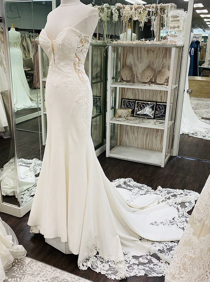 Crepe bridal gown with lace details and cutouts | Pearl's Place Bridal