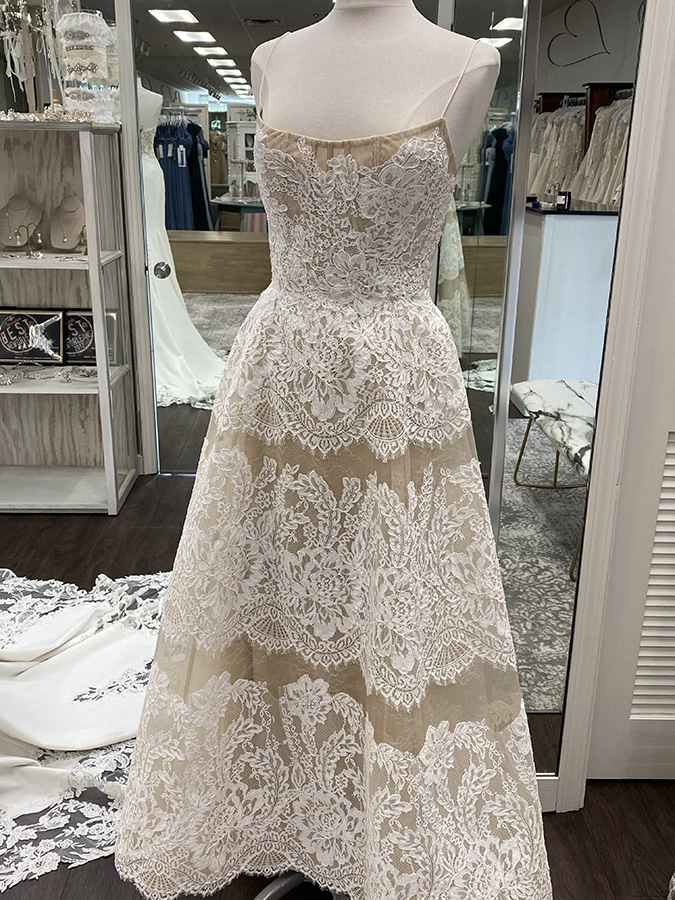Bridal gown with horizontal linear lace | Pearl's Place Bridal