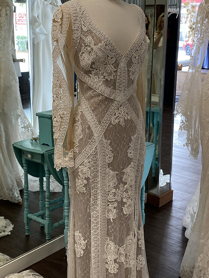 Boho Linear Lace Gown | Pearl's Place Bridal