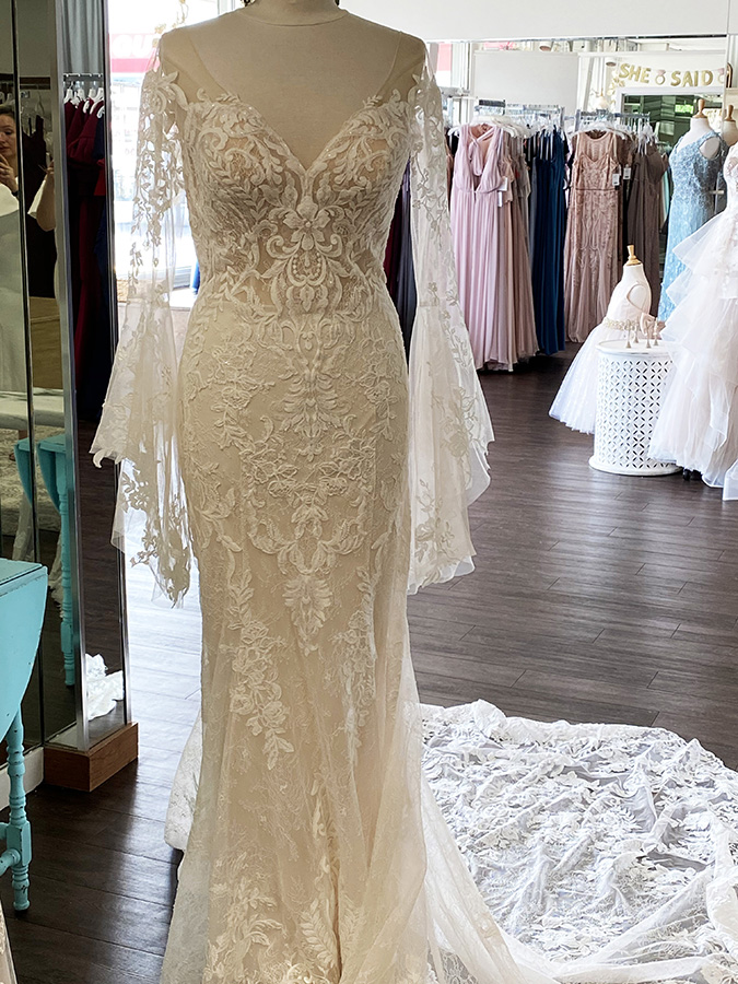 Lace Boho Wedding Gown with Sweetheart neckline and Boho sleeves | Pearl's Place Bridal