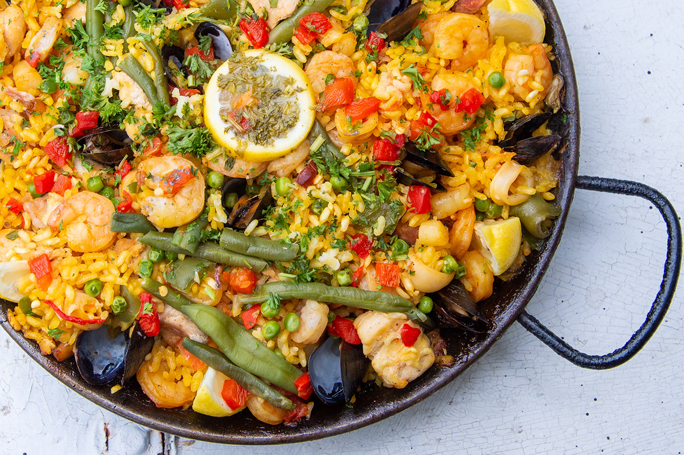 Meat and Seafood Paella, the couple's favorite, from Lola's in New Orleans