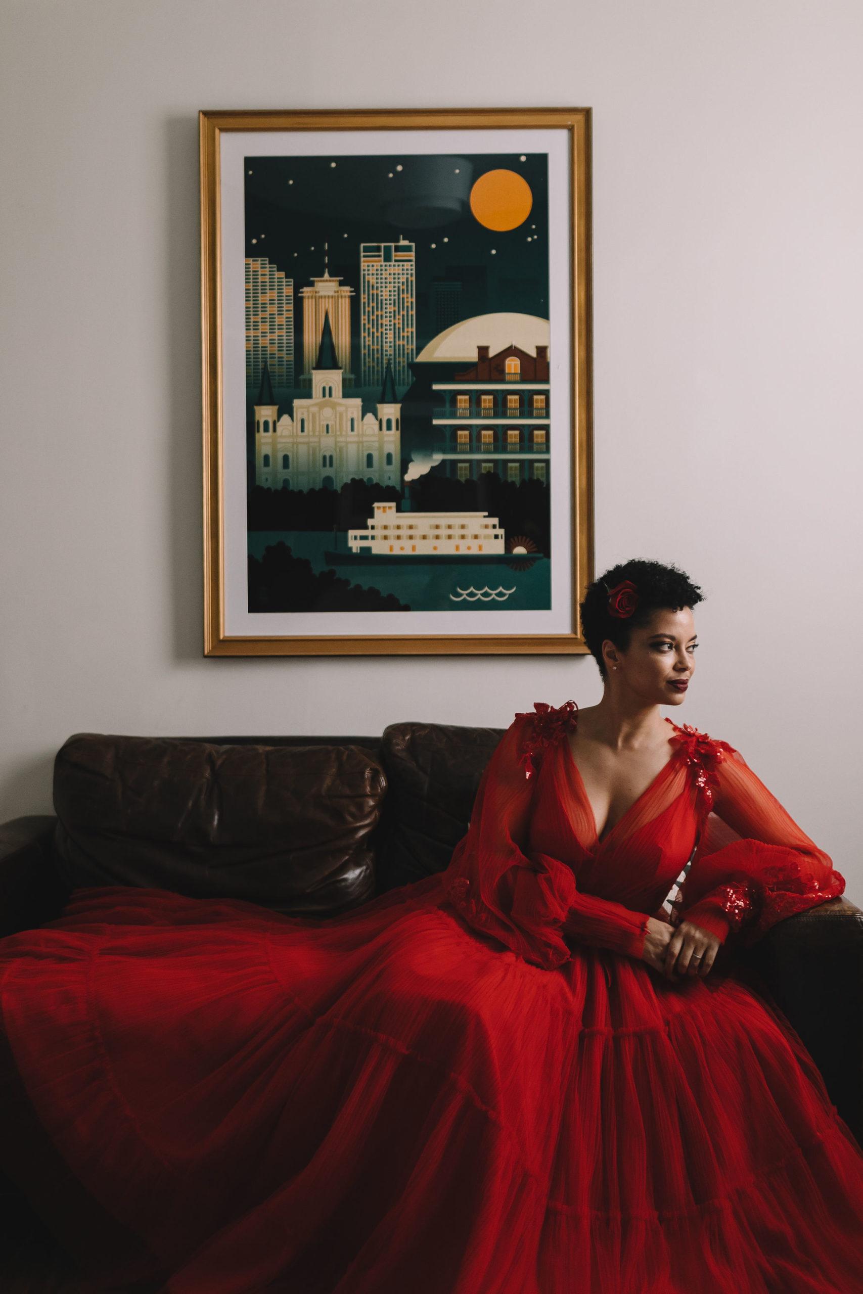 Morolake wore a stunning red gown by Kosovo designer Teuta Matoshi.