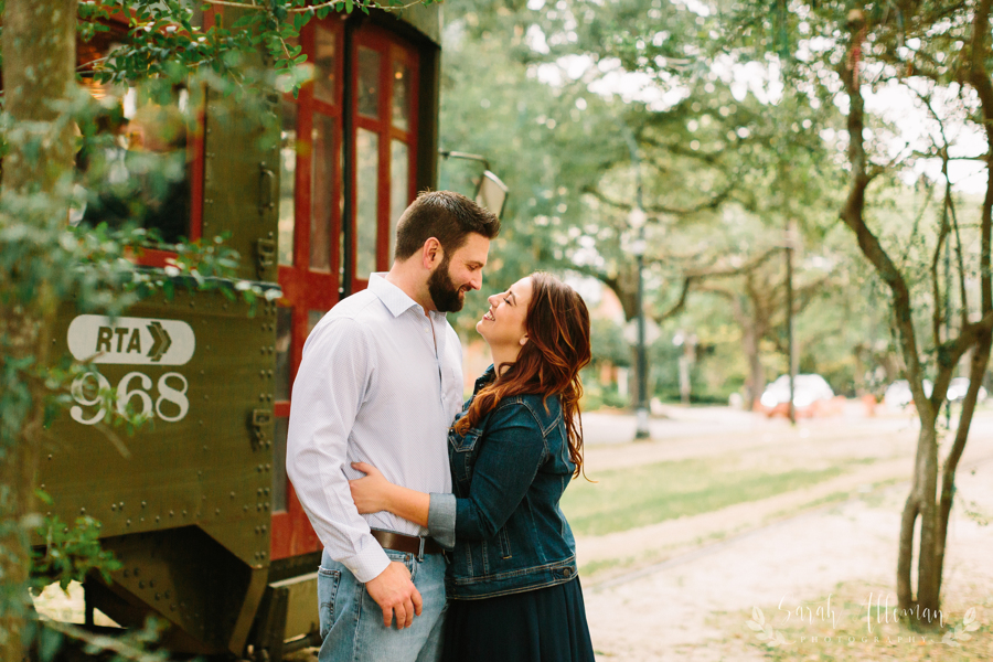 The St. Charles Streetcar is iconic for New Orleans engagement photos. | Photo by Sarah Alleman Photography