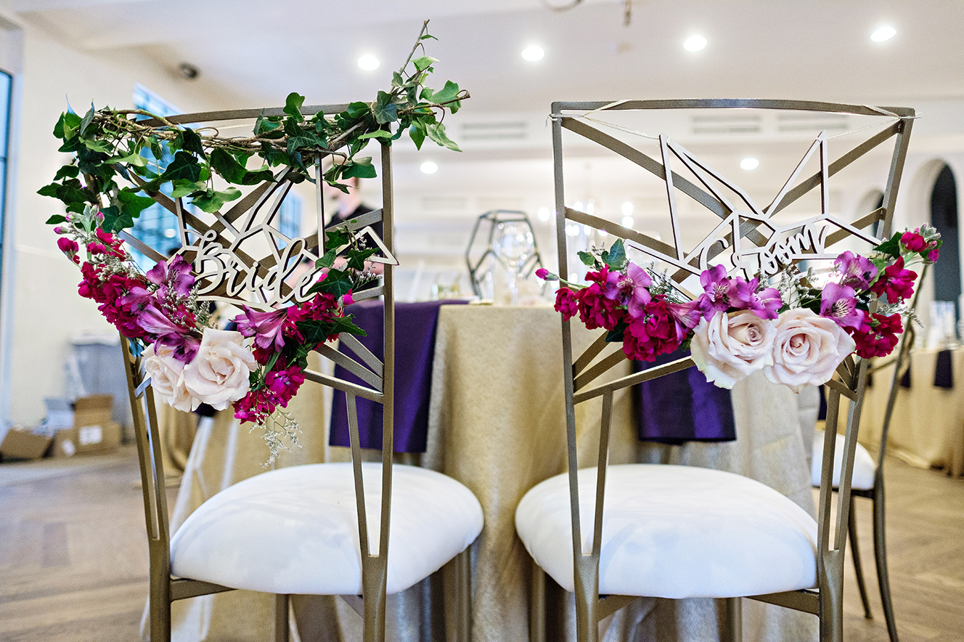 True Value Rental's Chameleon Chairs with floral decoration. Photo by: Studio Tran Photography