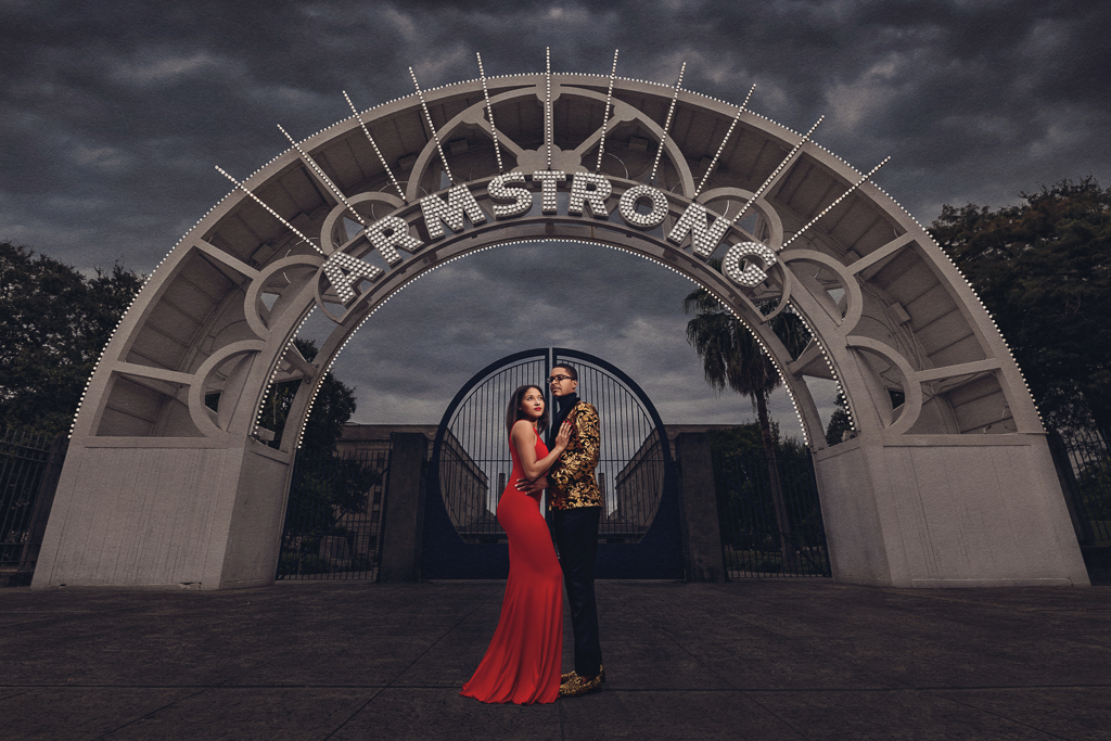 The entrance to Armstrong Park makes a dramatic backdrop for photos. | Photo by Amin Russell Photography