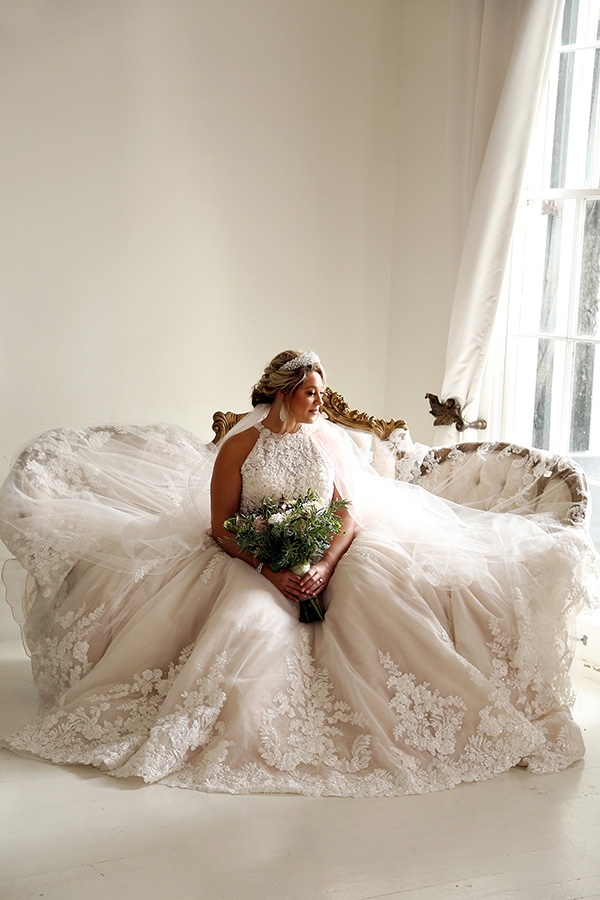 Courtney posed for portraits in her wedding gown at Nottoway prior to the wedding.