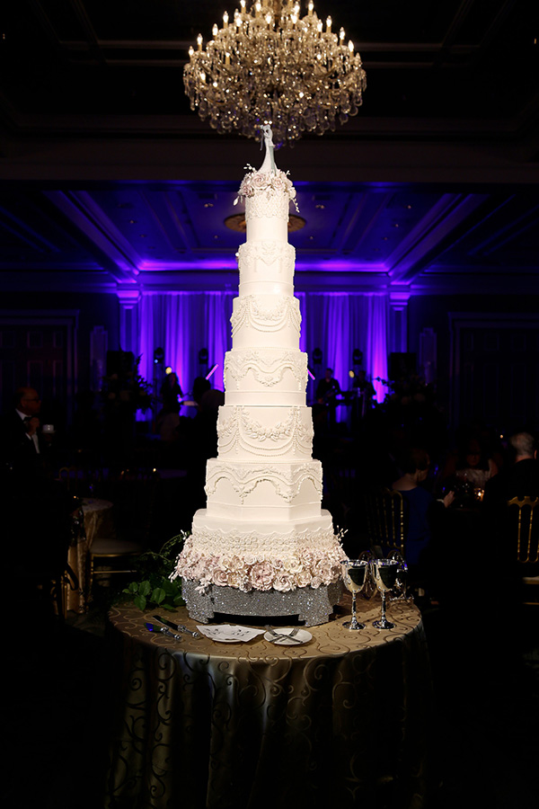 The focal point of the reception was the towering, 7-tier, wedding cake.