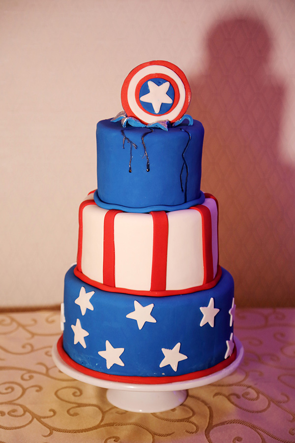 Captain America Groom's Cake by La Louisiane Bakery. Photo by Josh Williams