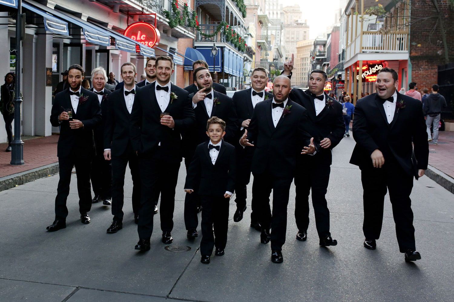 David and his groomsmen took to Bourbon Street before the wedding for some casual, fun portraits.
