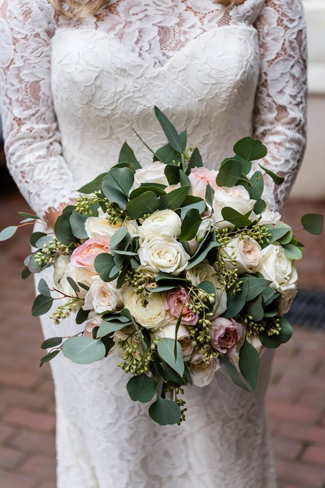 Blush and Ivory bridal bouquet by Beth's Flowers