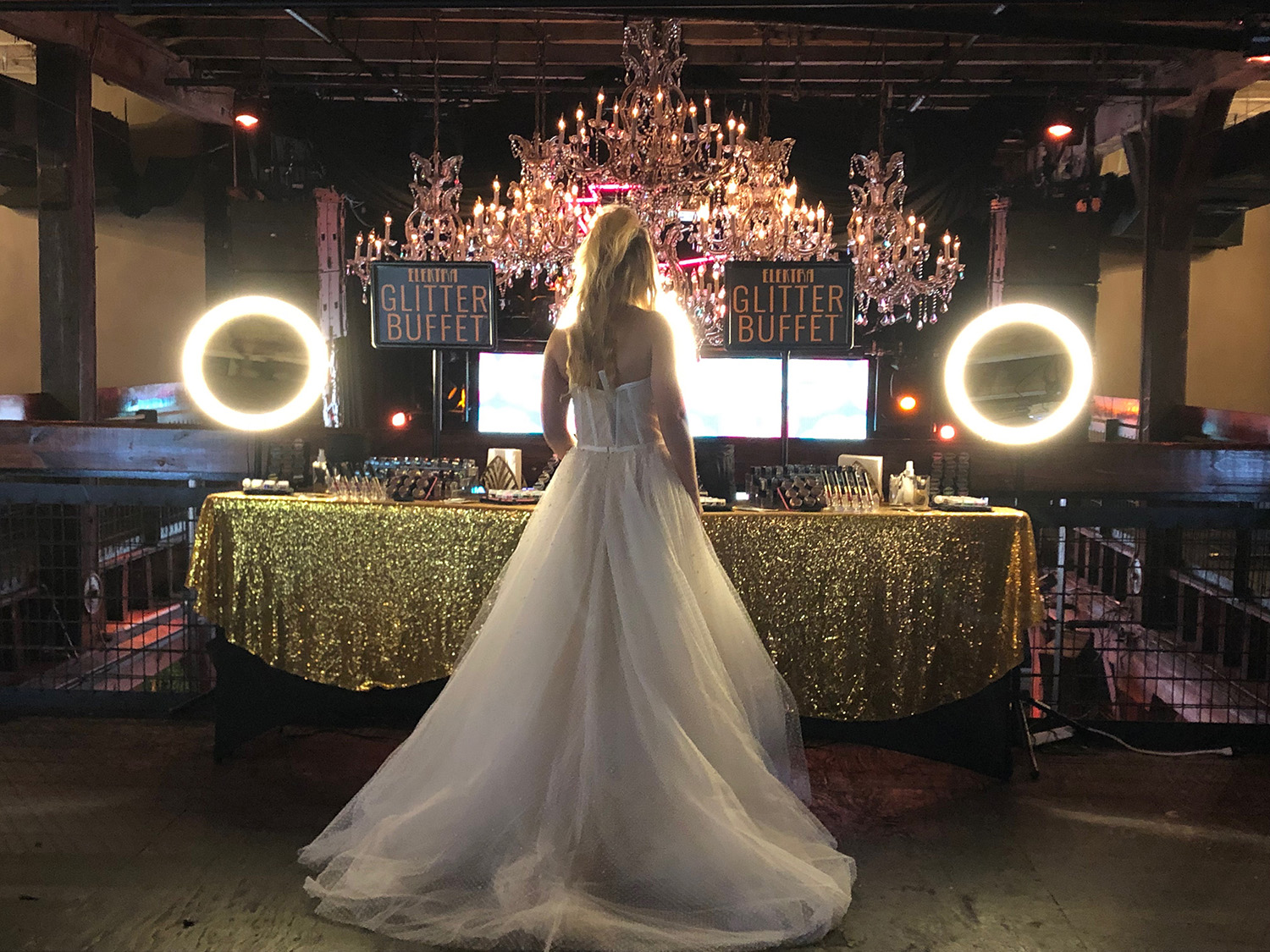 A bride browses the Glitter Buffet Experience by Elektra Cosmetics. Photo: Danielle Smith