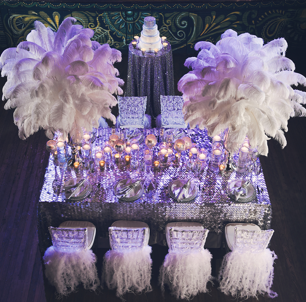 Shimmering sequin linens create a disco ball sensation for this wedding reception table at the House of Blues in New Orleans.