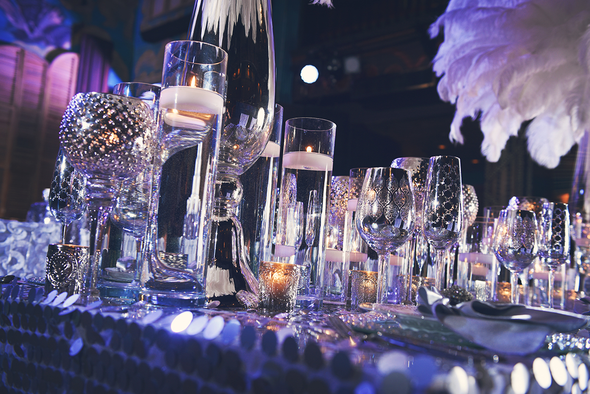 Candle detail from disco-inspired wedding decor. Photo by Studio Tran