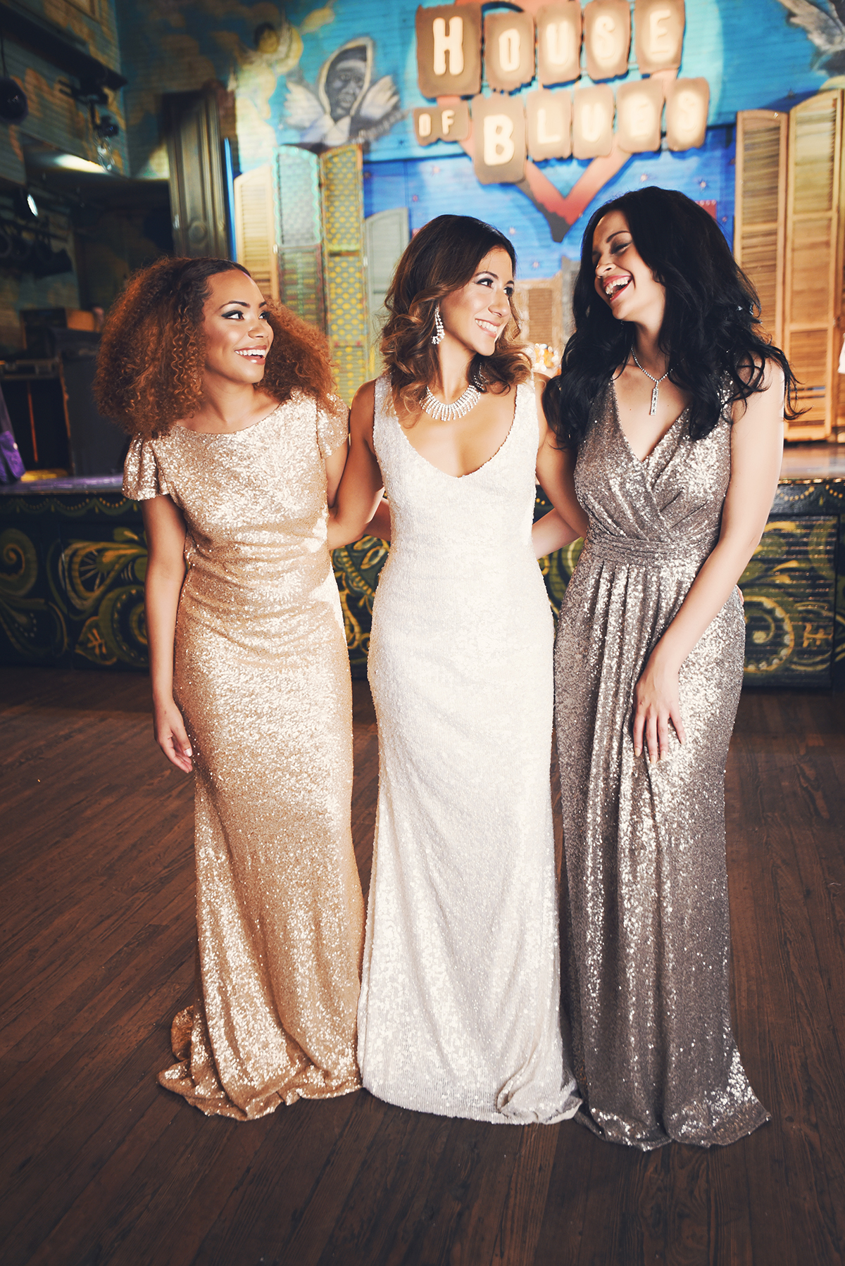 Sparkle is essential on the dance floor. For these party looks, all three ladies wear all-over sequin gowns.
