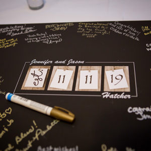 Guest Book Signature Photo Mat With The Couple's Name And Wedding Date. Photo By Brian Jarreau Photography
