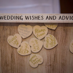 Wooden Heart Guest Book Frame. Photo By Brian Jarreau Photography