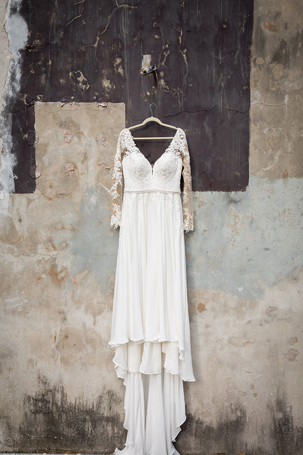 Jen's lace and crepe Stella York wedding gown.