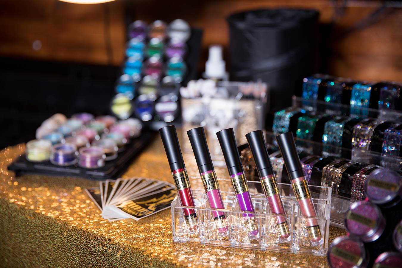 Glitter makeup available on the Glitter Buffet. Photo: Brian Jarreau