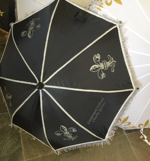 Bride and Groom second line umbrellas with fleur de lis motif by Second-line Handkerchiefs