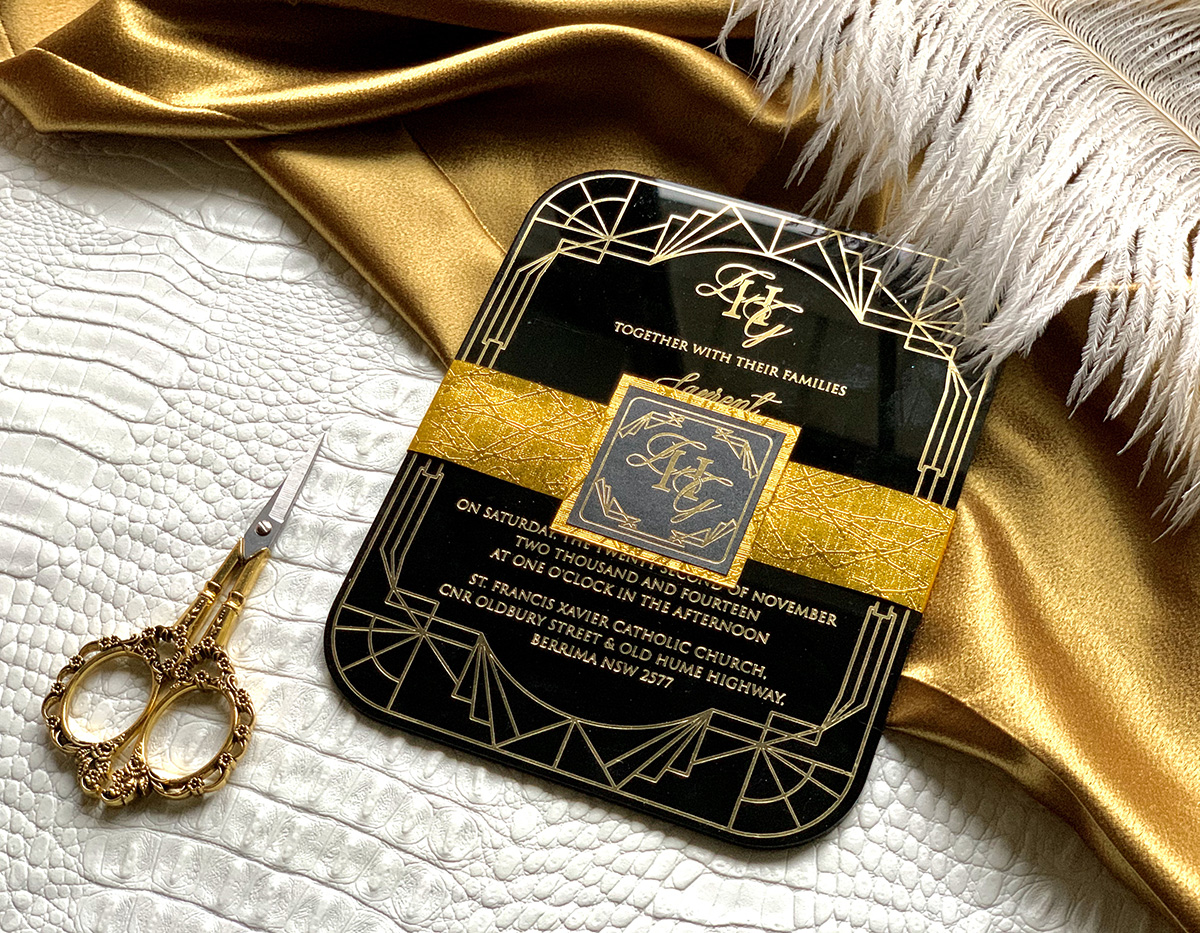 Upscales Custom Collection Black Acrylic Invitation Gold Foil Great Gatsby