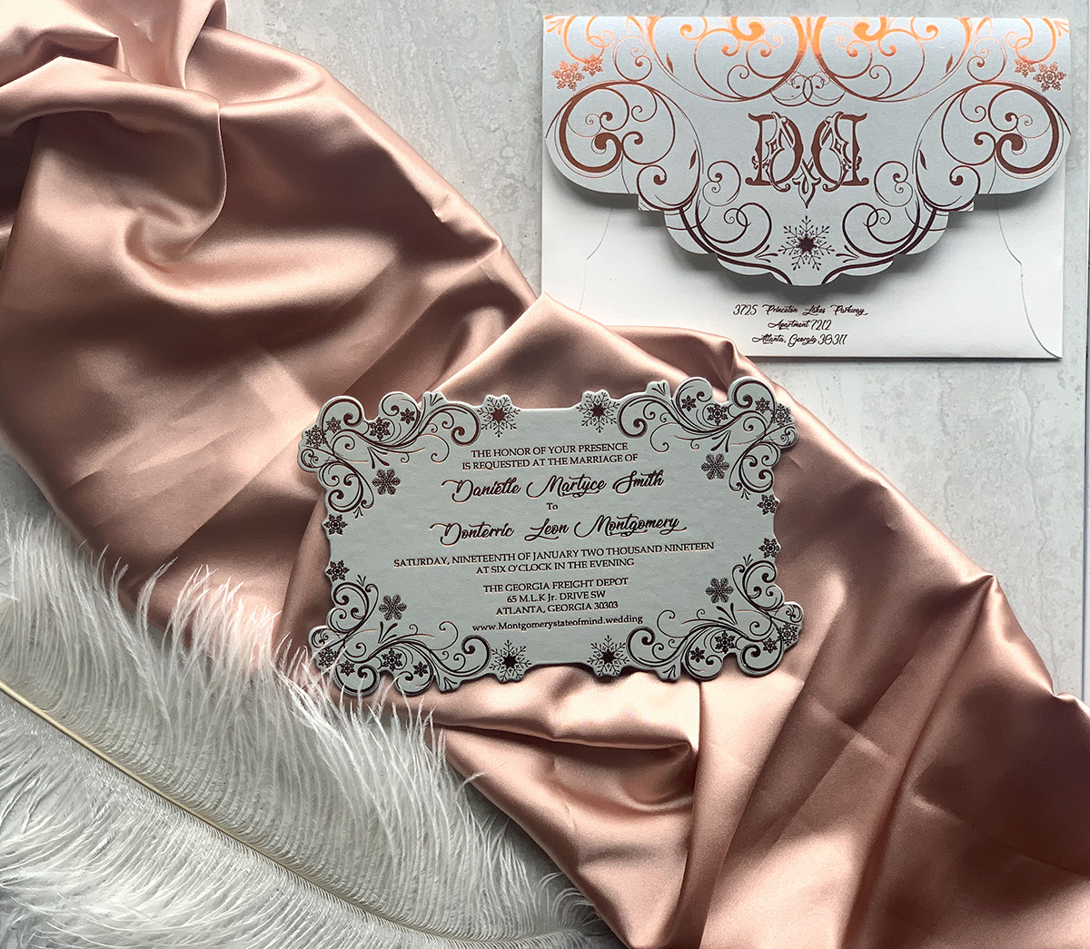 Upscales Custom Collection Cardstock Laser Cut Rose gold Foil Invitation