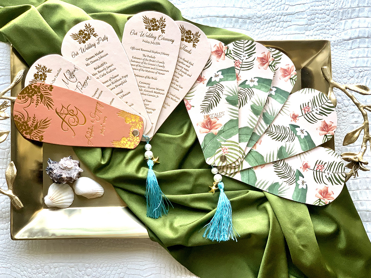Upscales Custom Collection Fan Invitation Beach Theme Cardstock Tassel
