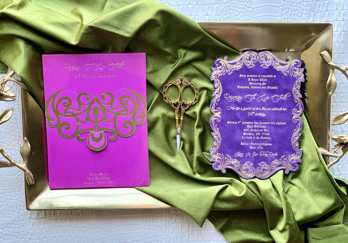 Upscales Custom Collection Purple Suede Invition Magenta Envelope