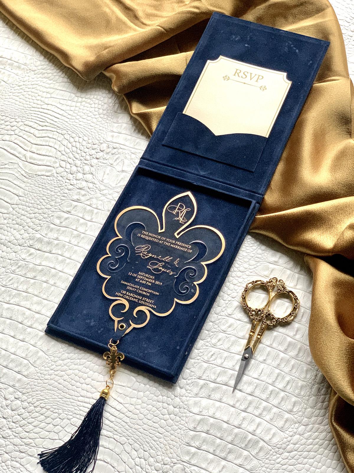 Upscales Custom Collection Suede Invitation Box Acrylic Invite