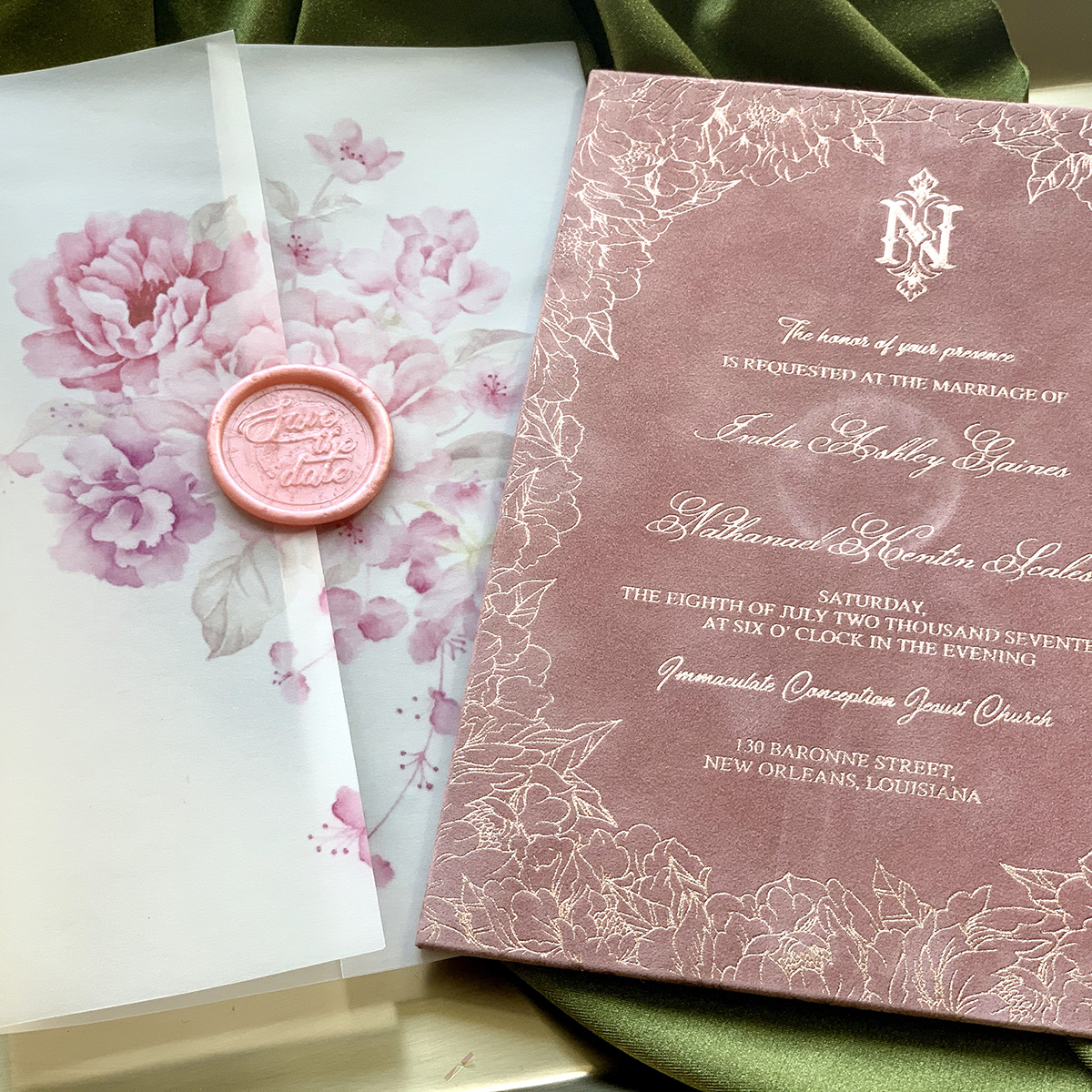 Upscales Custom Collection Suede Invitation