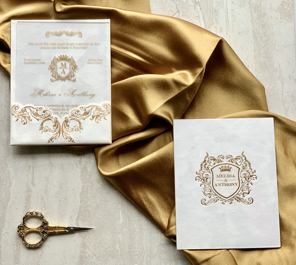 Upscales Custom Collection White Suede Mono Pocket Acrylic Invitation Gold Foil