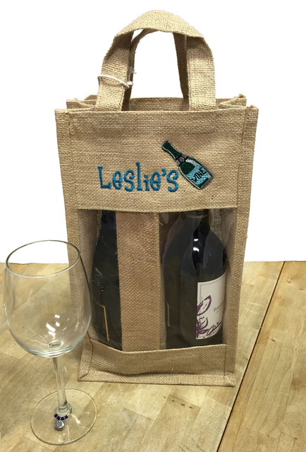 Embroidered Burlap wine bag by Second-line Handkerchiefs