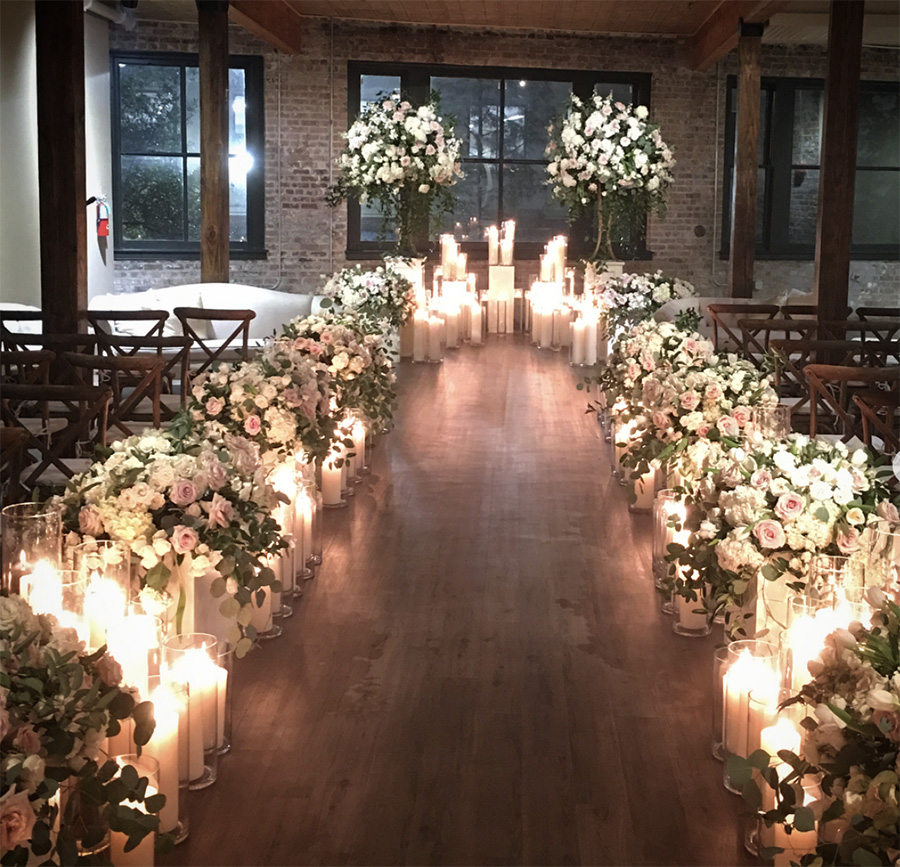 Indoor candlelight ceremony at The Chicory. Photo: Greer Gattuso
