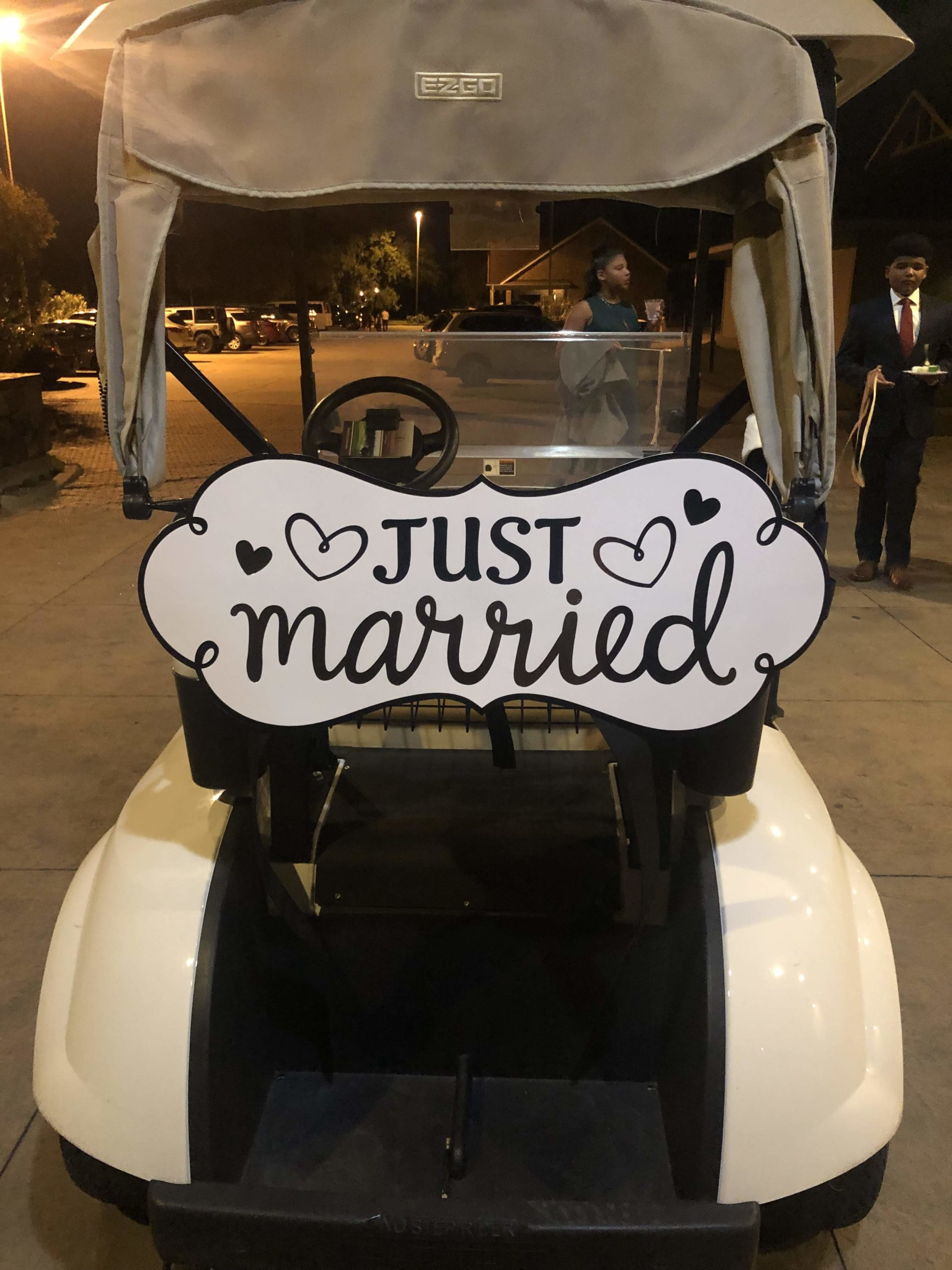 """Stonebridge Golf Club golf cart with """"Just Married"""" sign."""