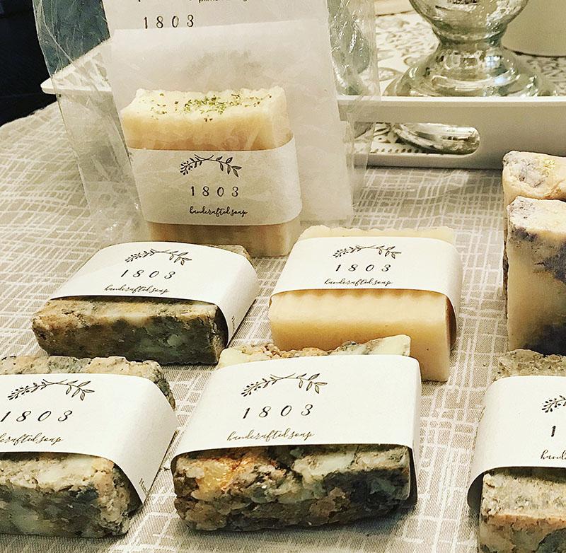 1803 Soap handmade marbled bar soap wedding favors.