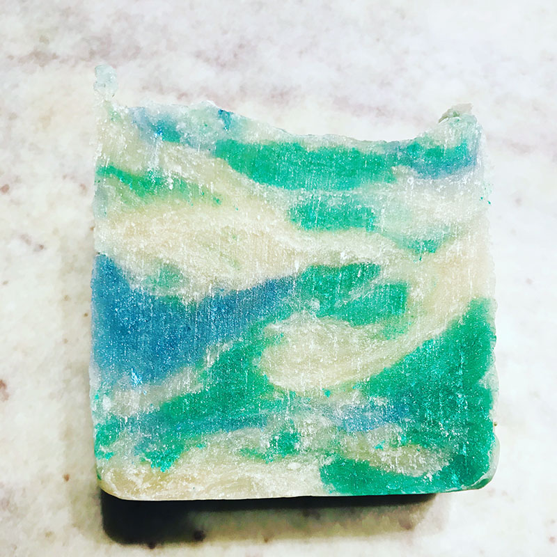 1803 Soap handmade marbled Wave bar soap wedding favors in blue and green.