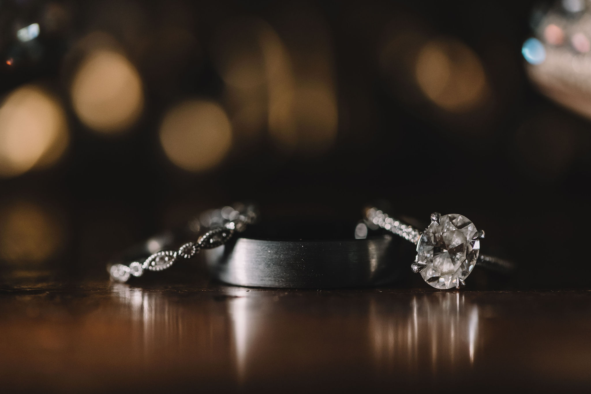 Rachel and Jimmy's wedding rings from Brilliant Earth.