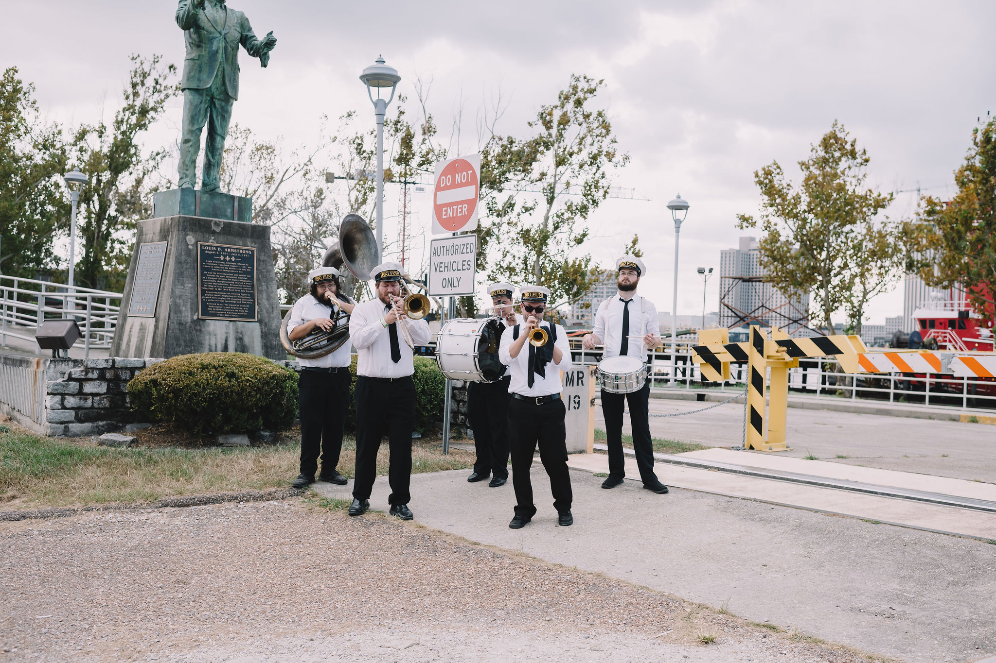 Big Fun Brass Band performed for the wedding Baraat/second line mashup.