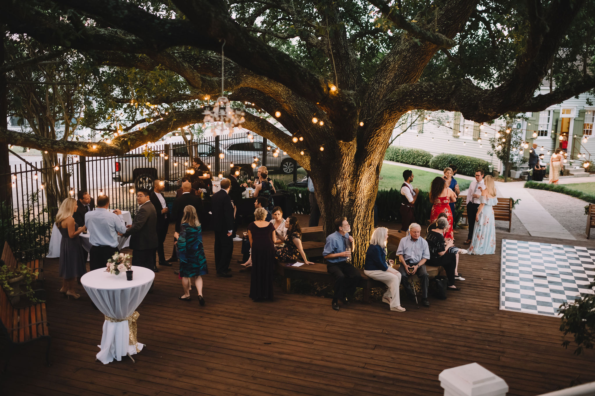 Guests enjoyed a cocktail hour under illuminated oak trees while the happy couple signed their marriage license and enjoyed a private meal together.