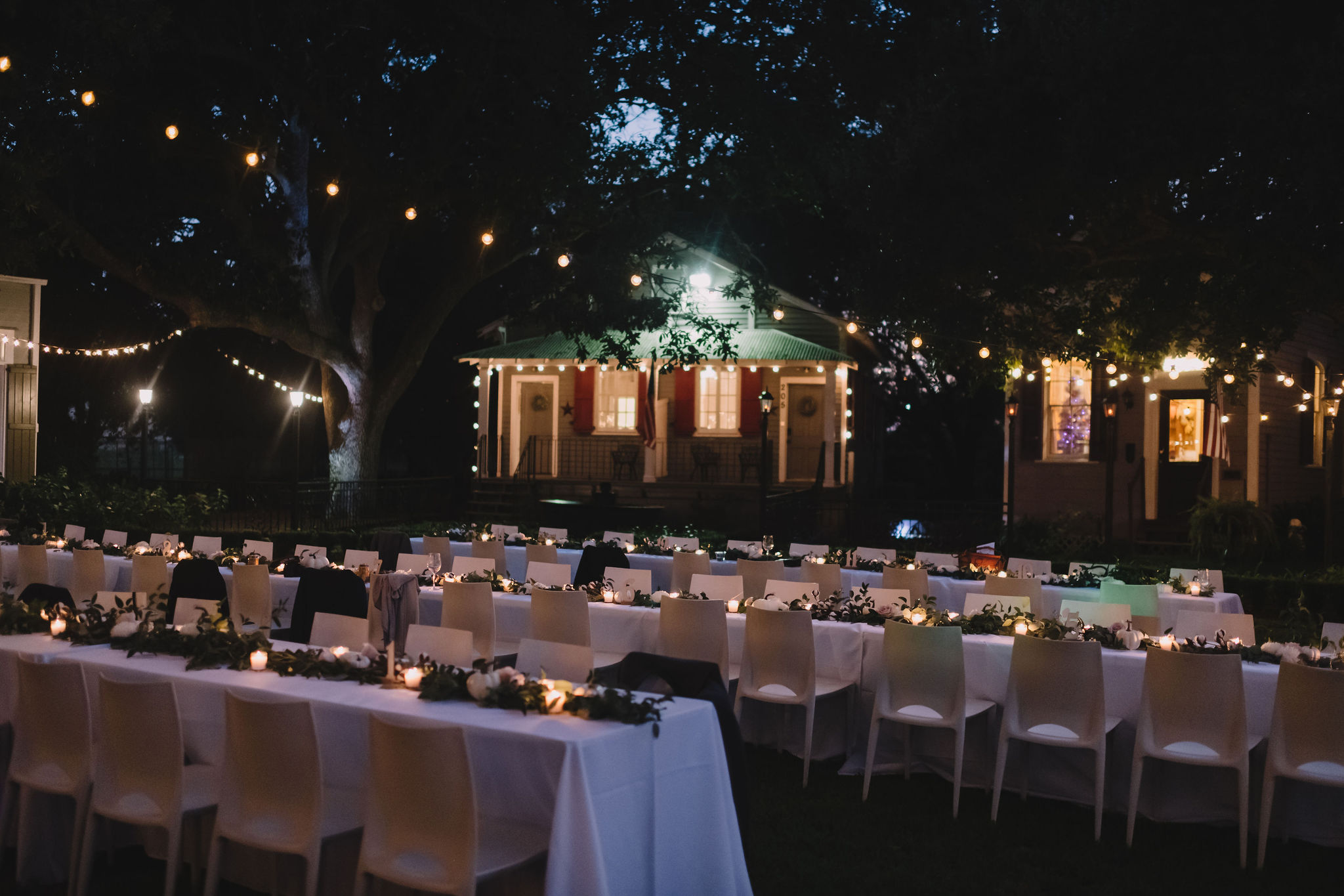 The reception took place outdoors on the open lawn at Compass Point.