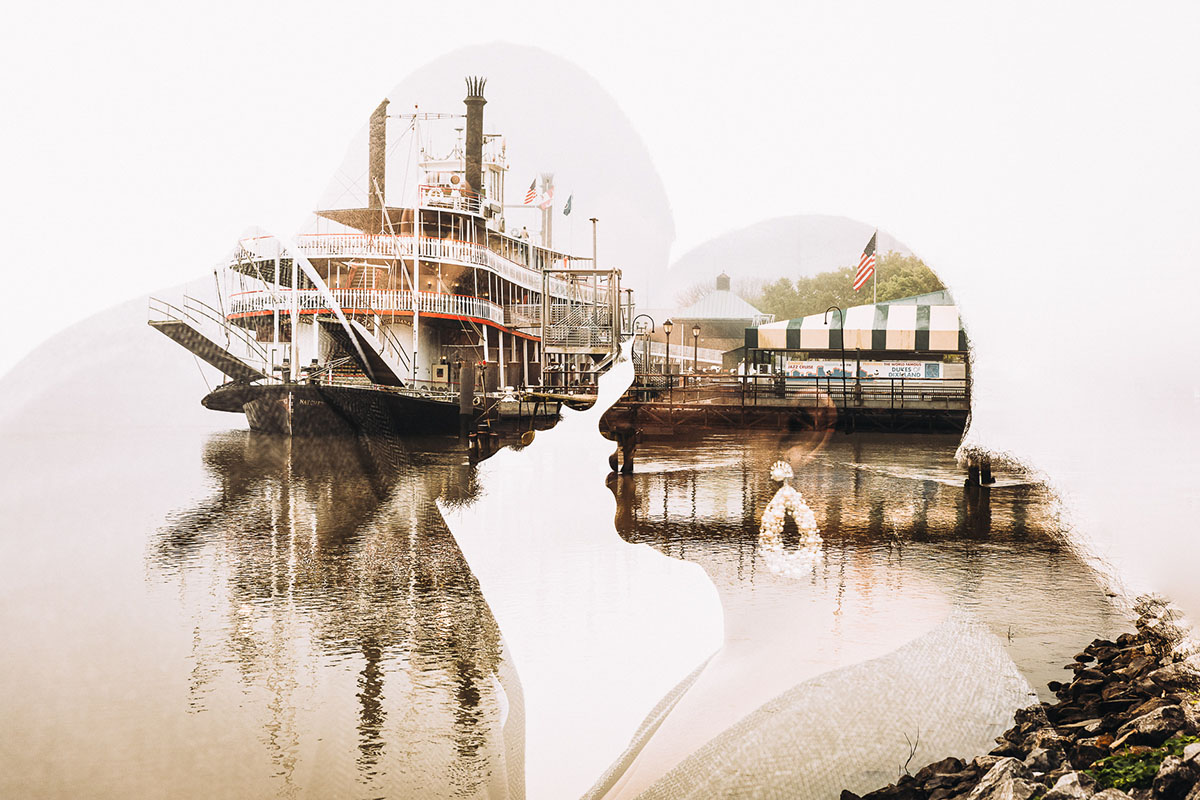 An artistic double exposure image from and engagement photo shoot with the Mississippi River and Steamboat Natchez. Photo: Capture Studio Photography