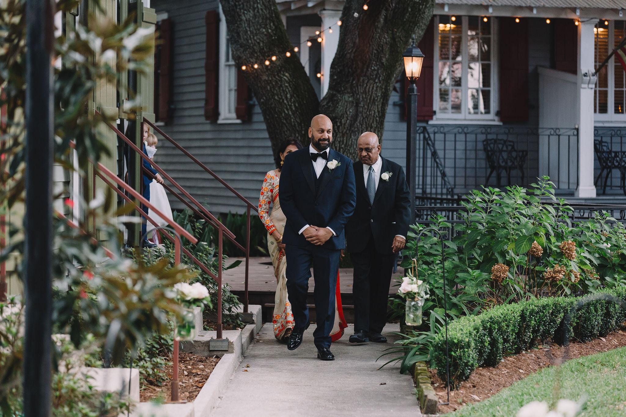 Jimmy walks to the wedding ceremony.