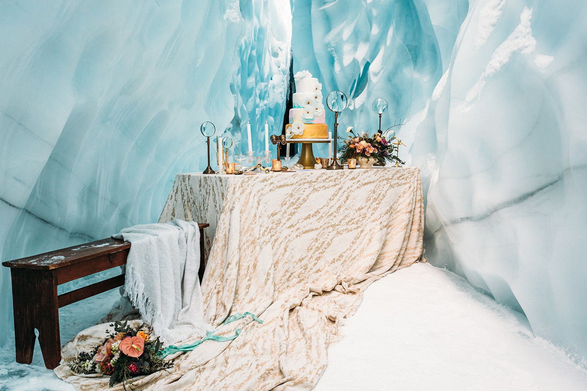 Wedding Reception scene styled in a glacier in Alaska. Photo: Anne Marie Moran