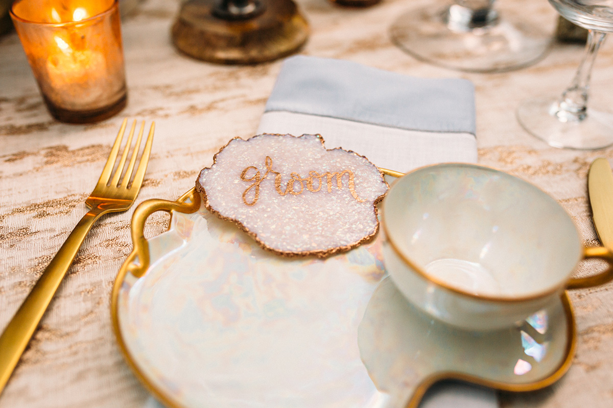 Non-traditional place card detail. Photo: Anne Marie Moran